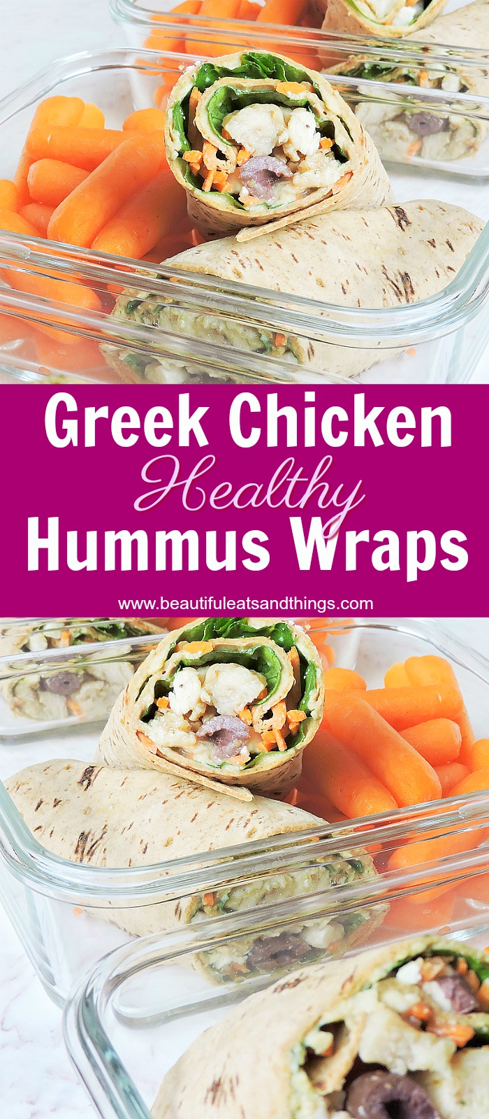 Healthy Greek Chicken Hummus Wraps
