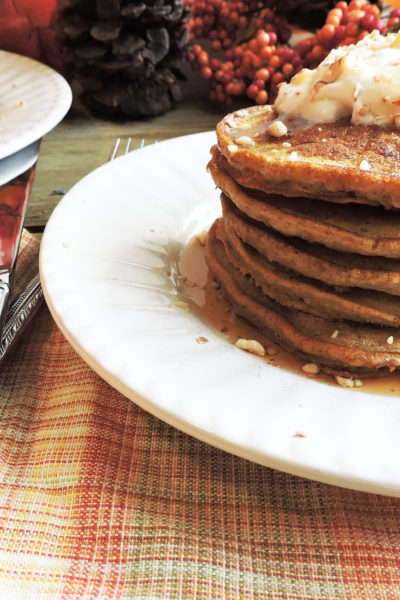 Fluffy No Added Sugar Pumpkin Pancakes