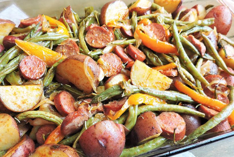 spicy-turkey-sausage-veggie-bake