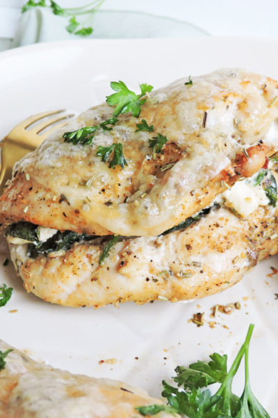 Roasted Cream Cheese-Spinach Stuffed Chicken Breast