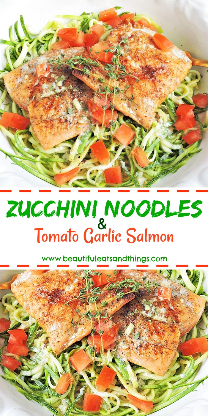 Tomato Garlic Salmon with Zucchini Noodles Pinterest