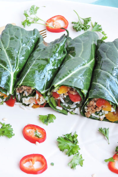 Turkey Sausage Stuffed Collard Green Wraps + BHM Virtual Potluck