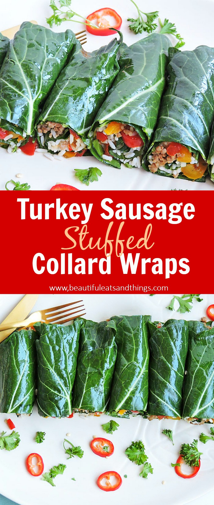 Turkey Sausage Stuffed Collard Green Wraps with rice and yellow and red bell peppers, on a white plate with slice red peppers Pinterest