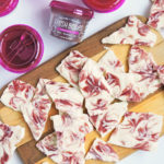 Fruit Swirled Frozen Greek Yogurt Bark made with Fresh Bellies Apple of My Eye