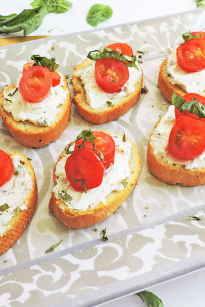 Herb Cream Cheese and Tomato Crostini