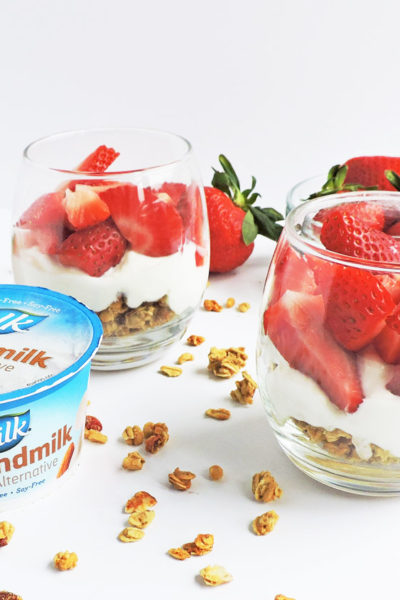 Top 4 Plant-Based Snacks to Get You Through the Day: Strawberry granola parfait made with Silk Vanilla Almondmilk Yogurt Alternative
