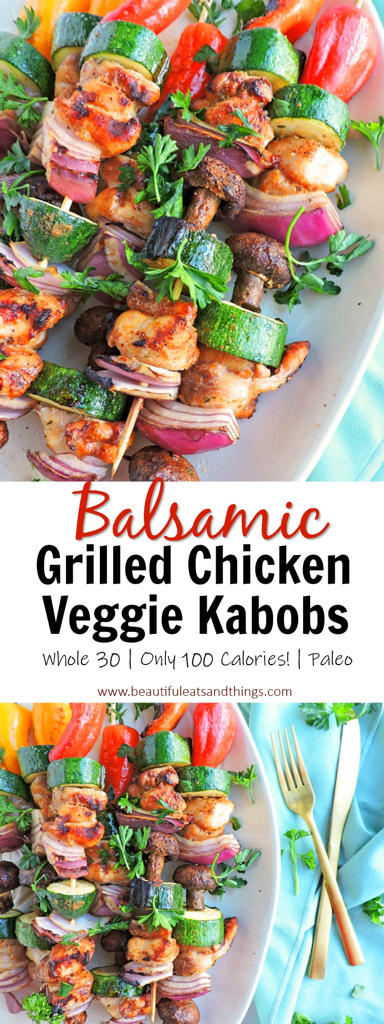 Grilled Balsamic Grilled Chicken and Veggie Kabobs