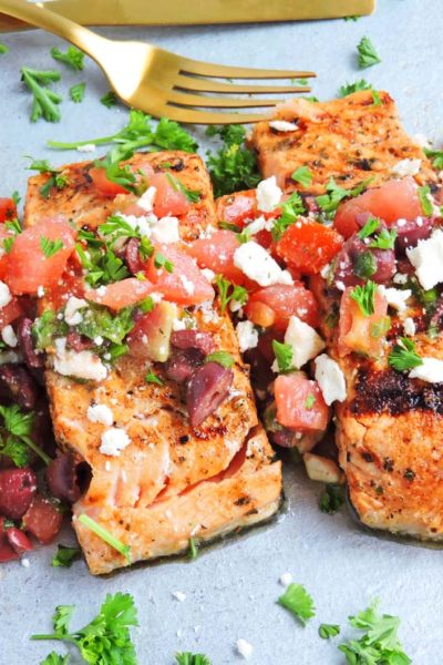 Grilled Mediterranean Bruschetta Salmon + The Power of Salmon