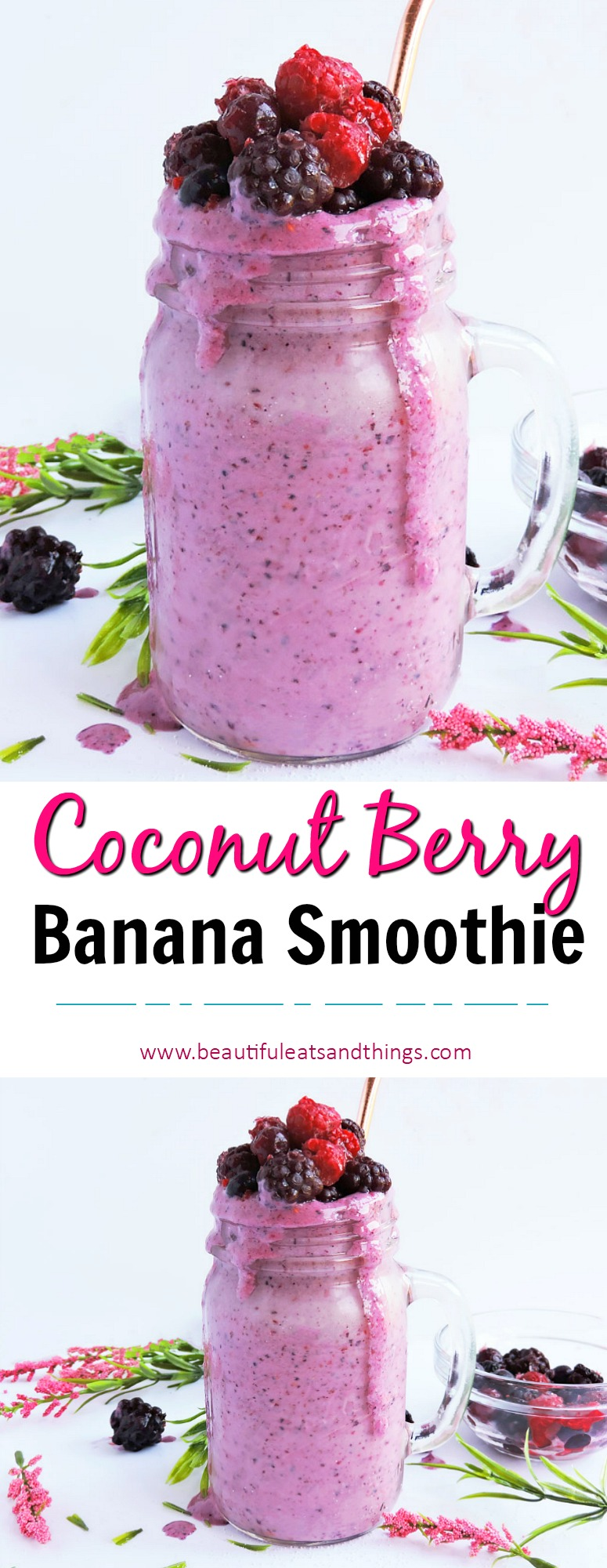 my recipe for relief-coconut berry banana smoothie