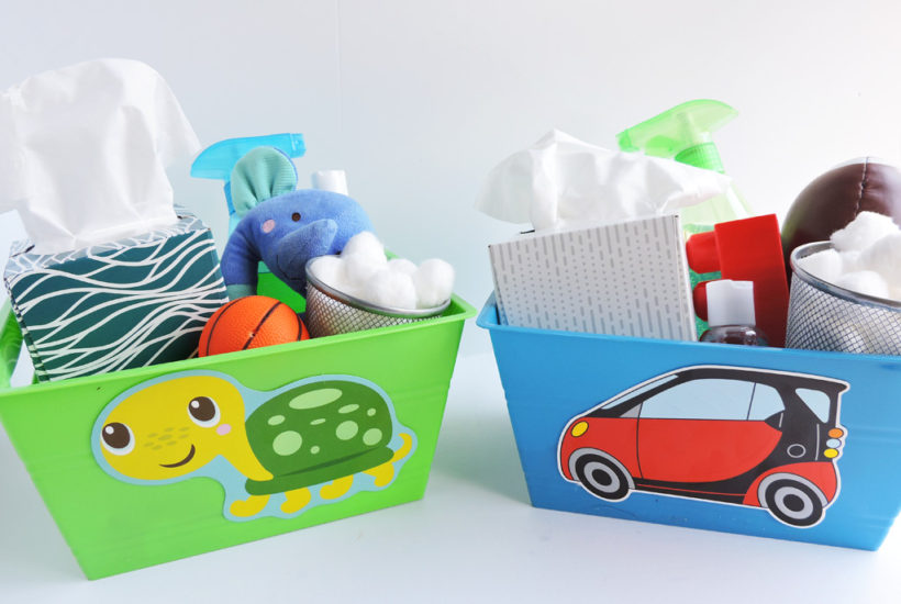 How to Properly Prepare for the Cold and Flu Season with member's mark tissues packed in DIY caddies for kids