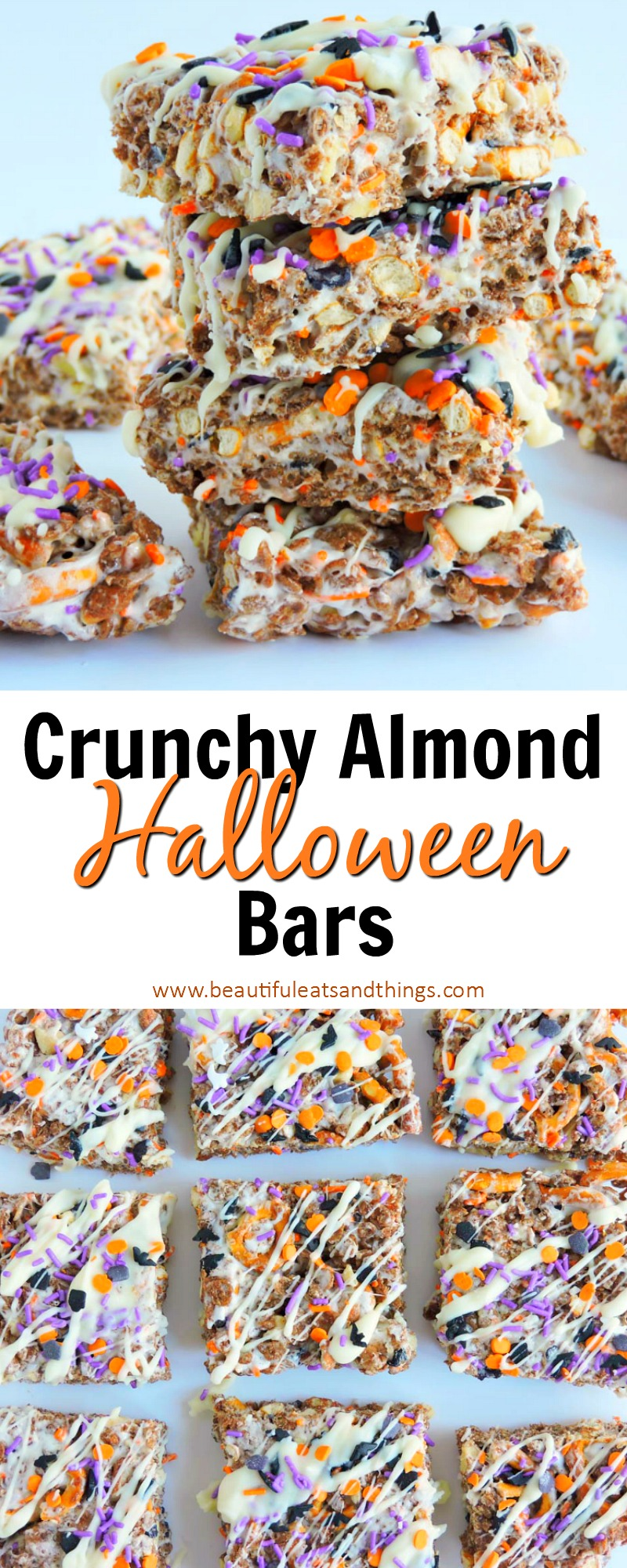 Crunchy Almond Halloween Bars- Chocolate rice krispie treats with almonds and pretzels, drizzled with halloween sprinkles and white chocolate