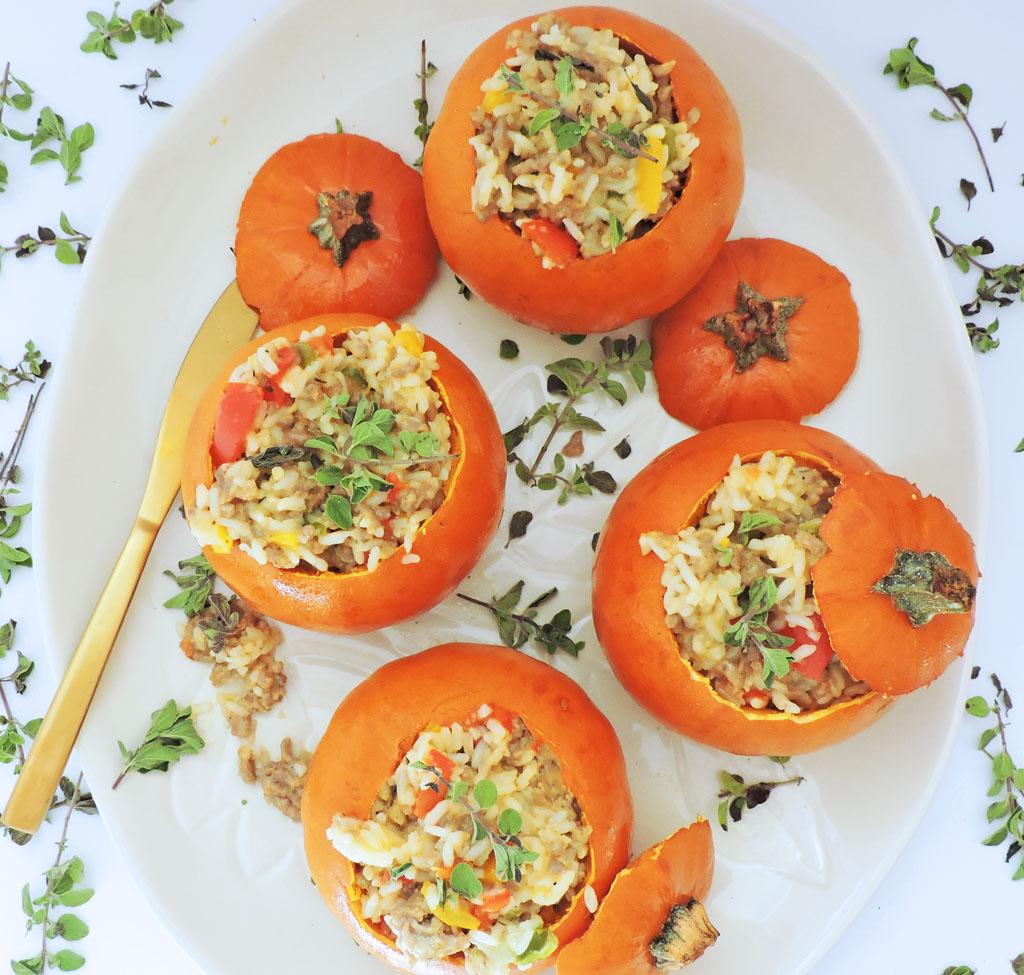 Mini Sausage & Rice Stuffed Pumpkins - Beautiful Eats & Things