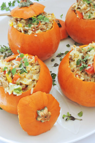 Mini Sausage & Rice Stuffed Pumpkins