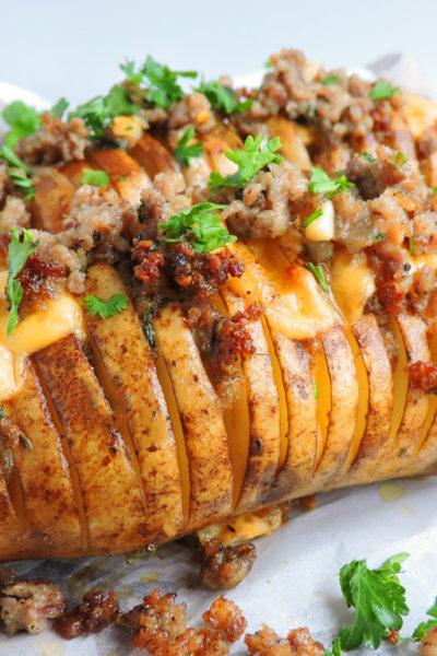 Spicy Smoked Gouda & Sausage Hasselback Potatoes