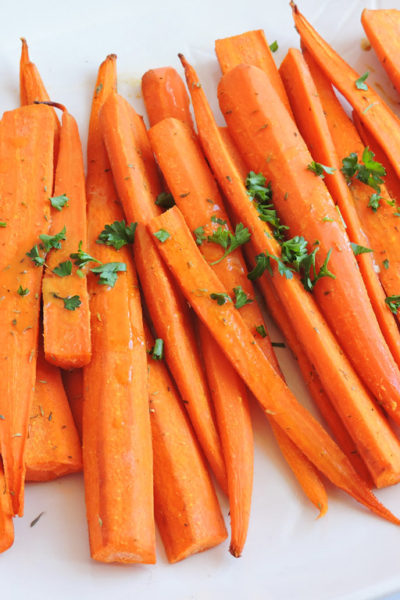 Ginger Maple Mustard & Herb Roasted Carrots