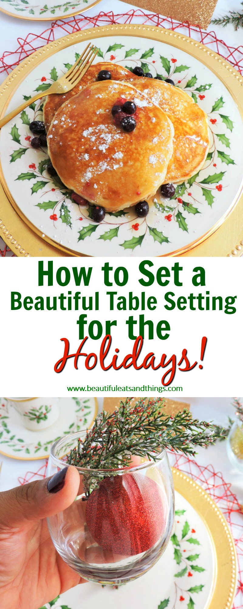 How to Set a Beautiful Table Setting for a Holiday Gathering including Wayfair Holiday Dinnerware set with gold silverware and Christmas decorations