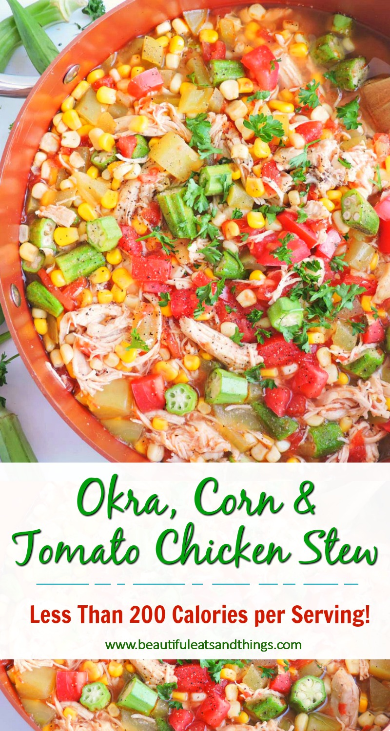 Okra, Corn, & Tomato Chicken Stew in a copper pot with a wooden spoon, topped with parsley  beautifuleatsandthings.com