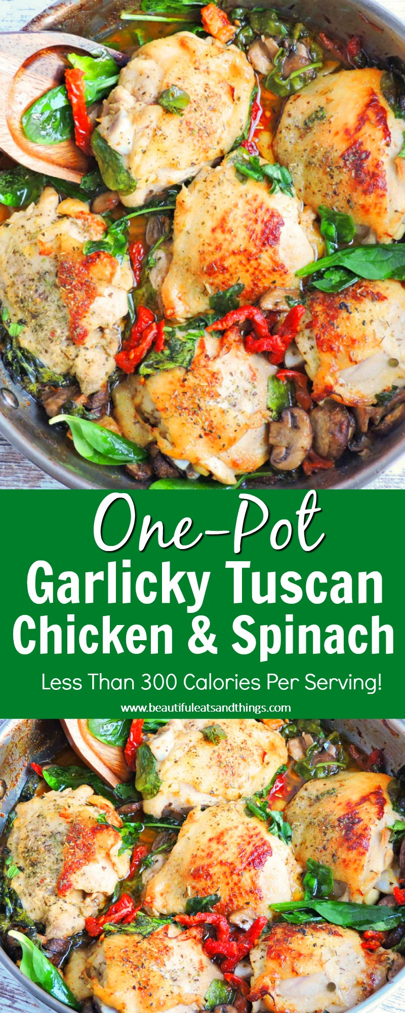 One Pot Garlicky Tuscan Chicken & Spinach made with white white, mushrooms, garlic, and sun dried tomatoes served in a stainless steel dutch oven with spinach and a wooden spoon on top