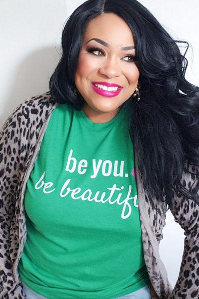 beyoubebeautiful. image of black (african american) registered dietitian wearing a green Be You. Be Beautiful shirt