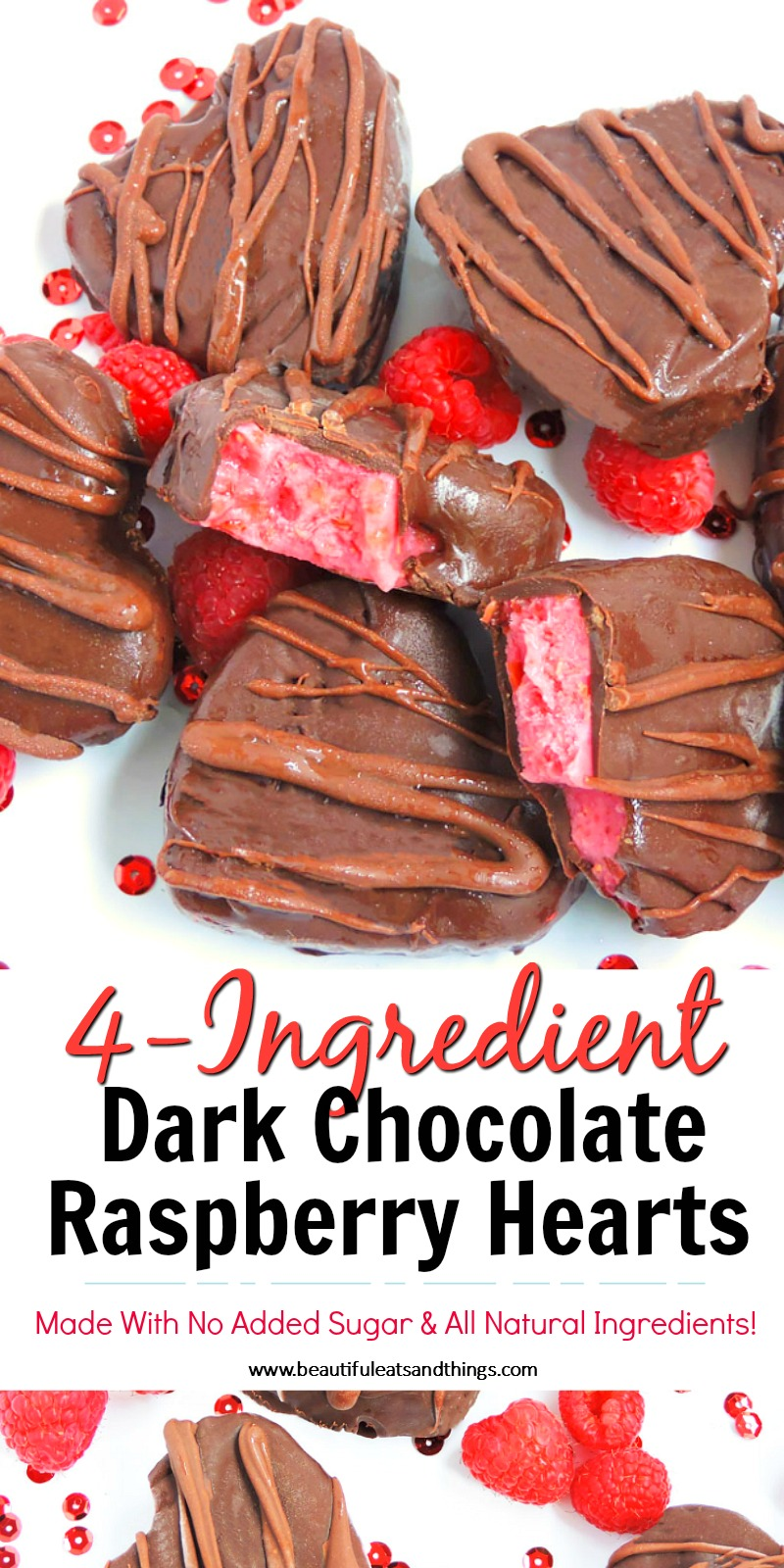 4-Ingredient Dark Chocolate Raspberry Hearts + Made with No Added Sugar, dark chocolate hearts with a pink raspberry and date filling, decorated with red Valentine's Day hearts