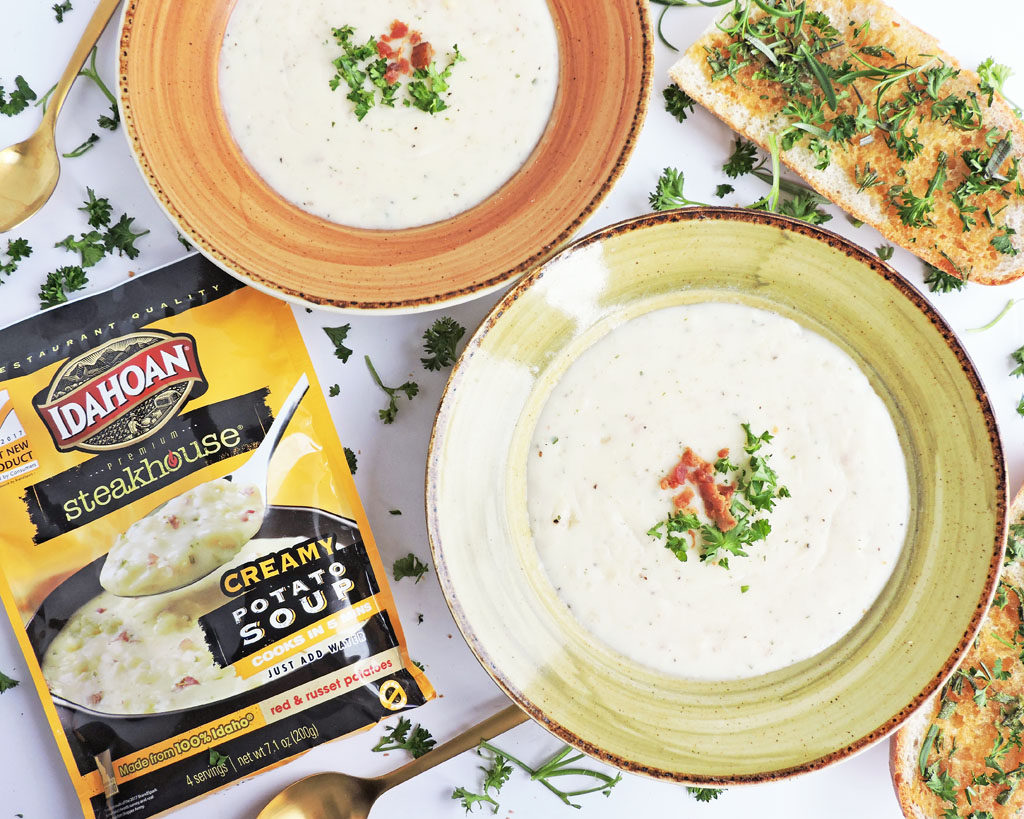 Simple Warm & Cozy Meal Ideas for Winter-Idahoan Steakhouse Soups Creamy potato flavor in a soup bowl with Rosemary Honey Garlic Toast