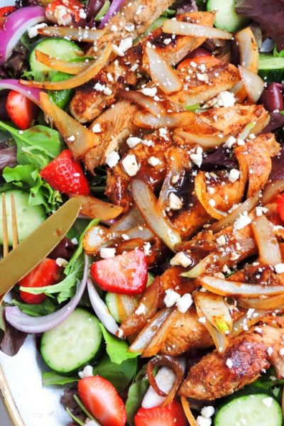Balsamic Strawberry Greek Chicken Salad