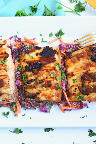 Grilled Ginger Peanut Glazed Mahi-Mahi with Jalapeno Peanut Butter Slaw