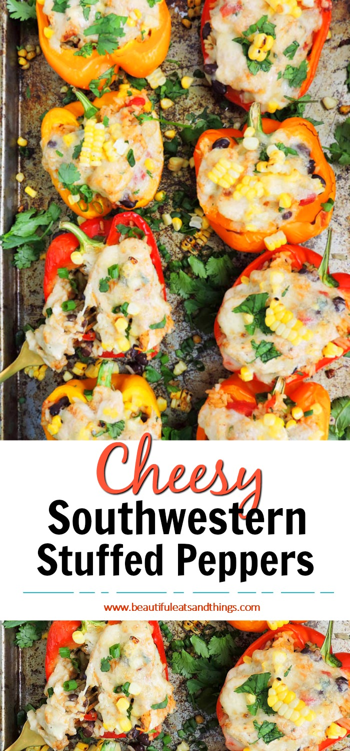 Cheesy Southwestern Chicken Stuffed Bell Peppers