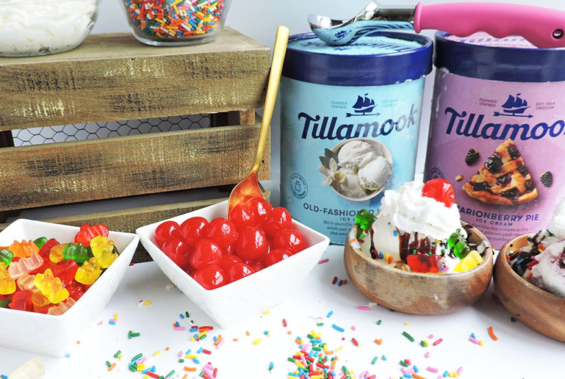 Super Easy DIY Sundae Bar made with Tillamook Old Fashioned Vanilla and Tillamook Marionberry Pie Ice Cream