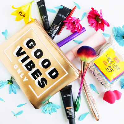 What's in My Summer Makeup Bag, rose gold good vibes only makeup bag with colorful makeup products