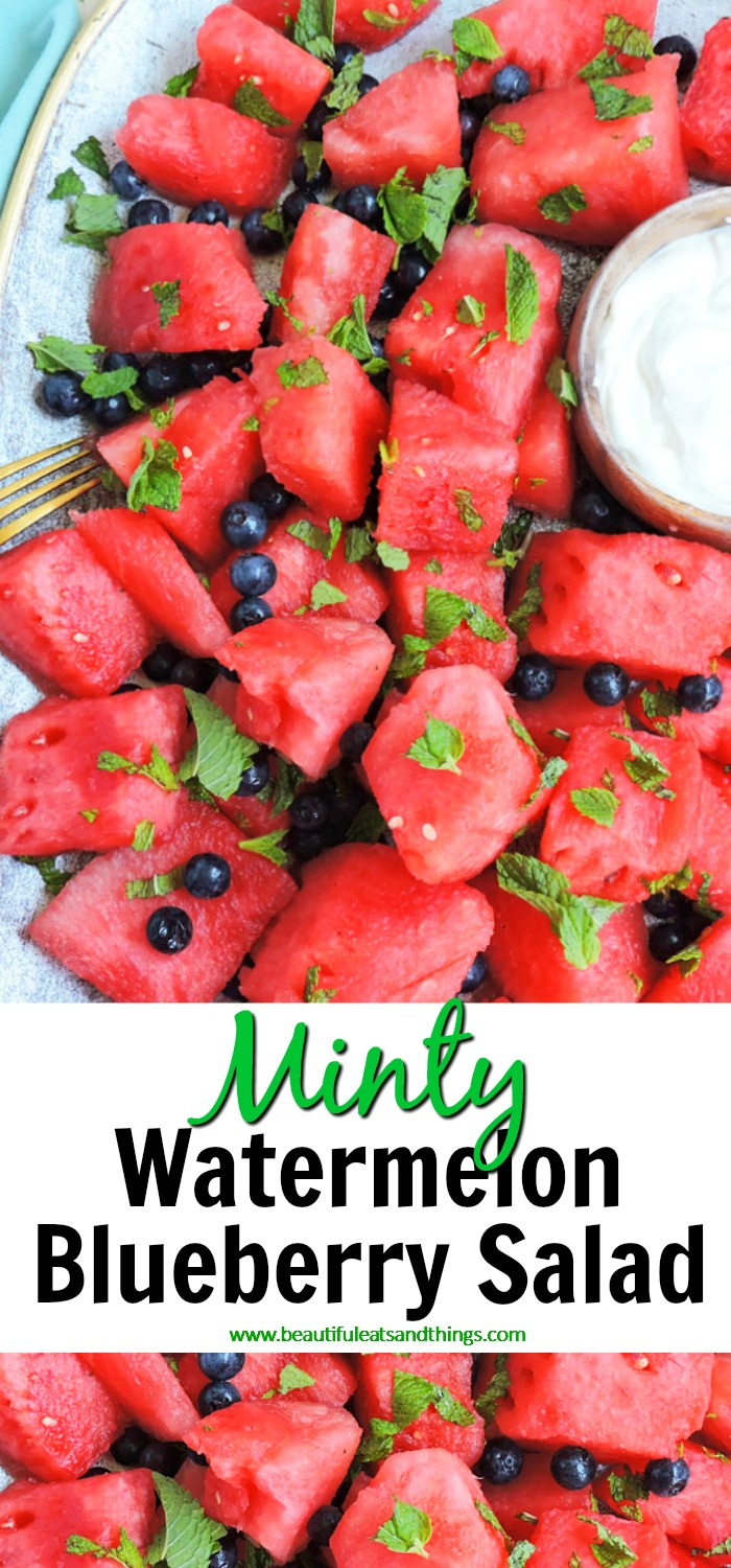 Minty Watermelon Blueberry Salad