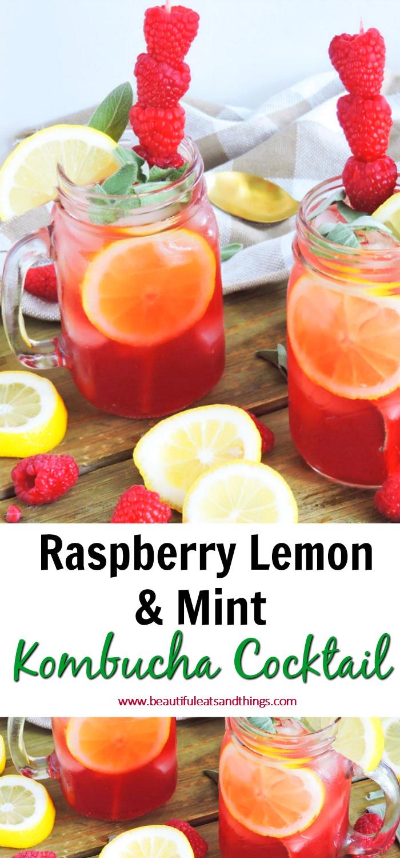 Raspberry Lemon & Mint Kombucha Cocktail