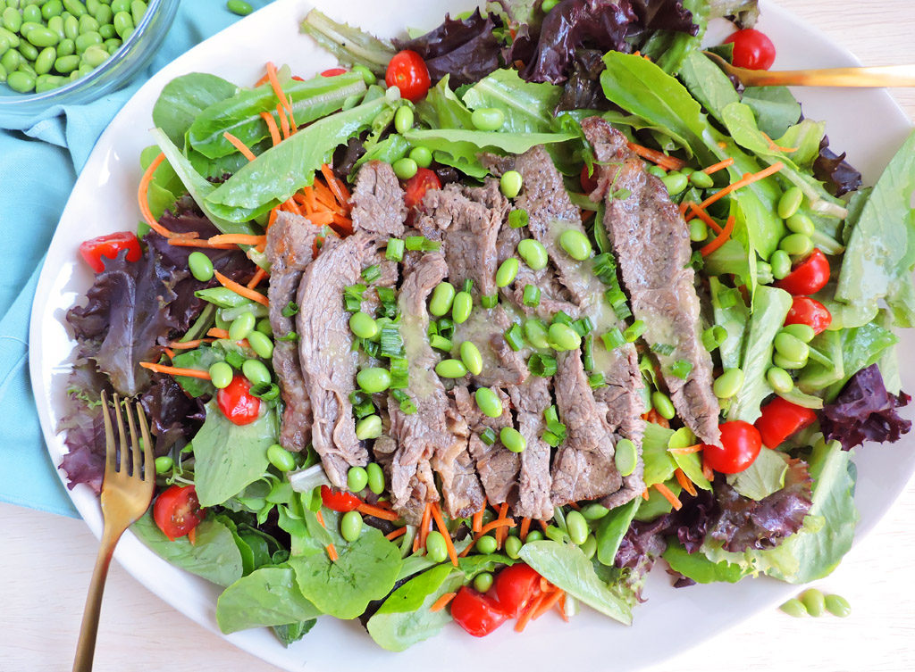 Beef Salad with Ginger Soy Dressing and edamame, Soy Connection
