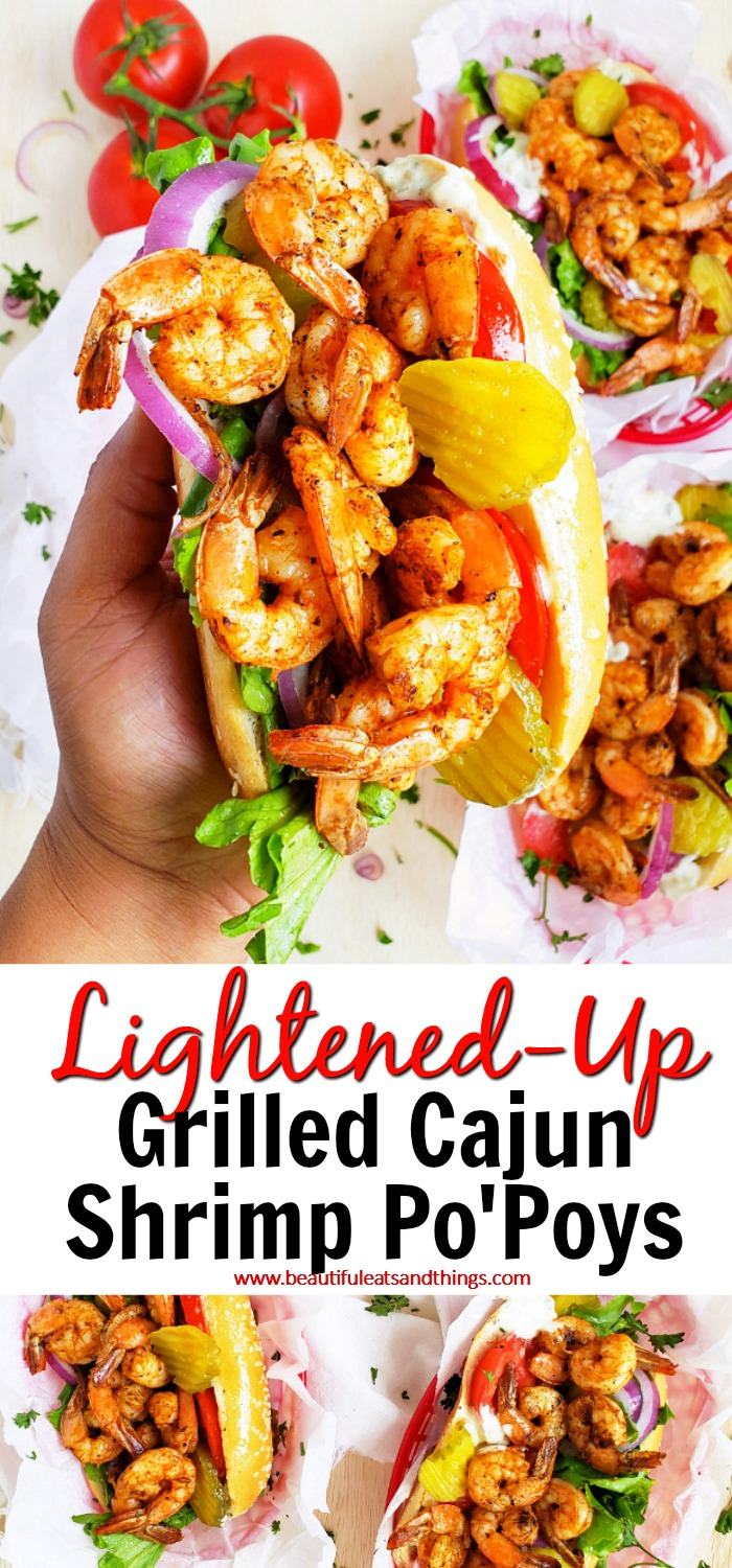 Cajun Lightened-Up Grilled Shrimp Po' Boys