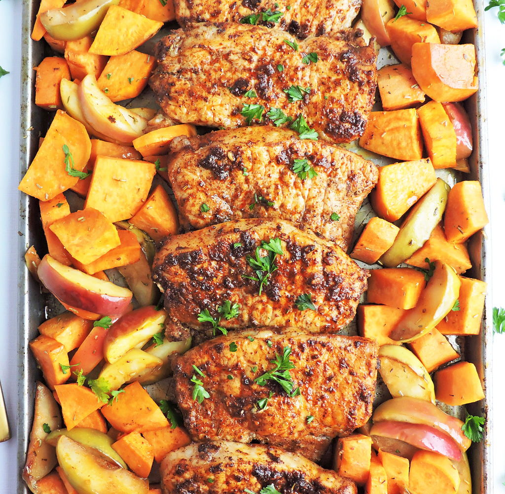 pork chop sweet potato recipe Sheet Pan Honey Glazed Pork Chops with Sweet Potatoes & Apples