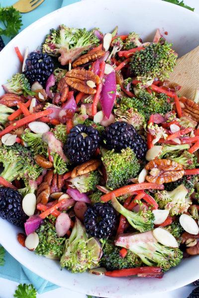 Simple Vegan Blackberry Broccoli Salad