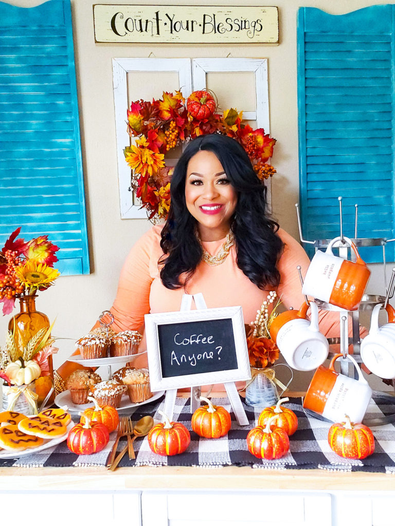 DIY Cozy Fall Coffee Bar with black, African American registered dietitian