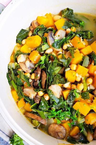 Vegan Butternut Squash, Collard Green & Chickpea Soup