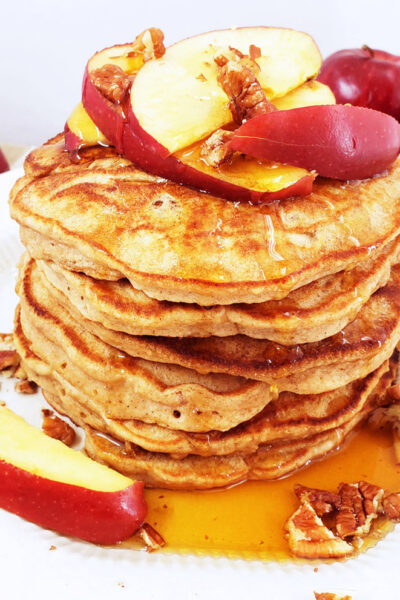 Fluffy Whole Wheat Apple Pecan Pancakes
