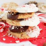 Slice & Bake Peppermint Almond Shortbread Cookies dipped in white chocolate and dark chocolate.