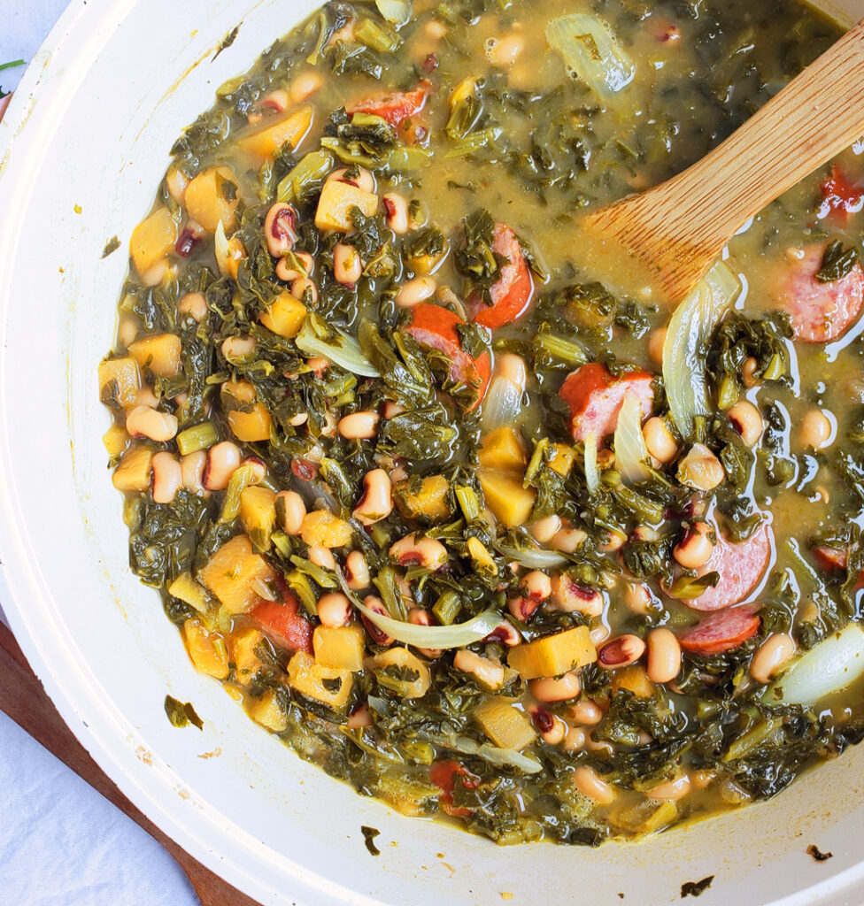 One-Pot Black-Eyed Pea Soup with Collard Greens & Sausage made with Glory Foods Collard Greens & Black Eyed Peas. Perfect for New Year's