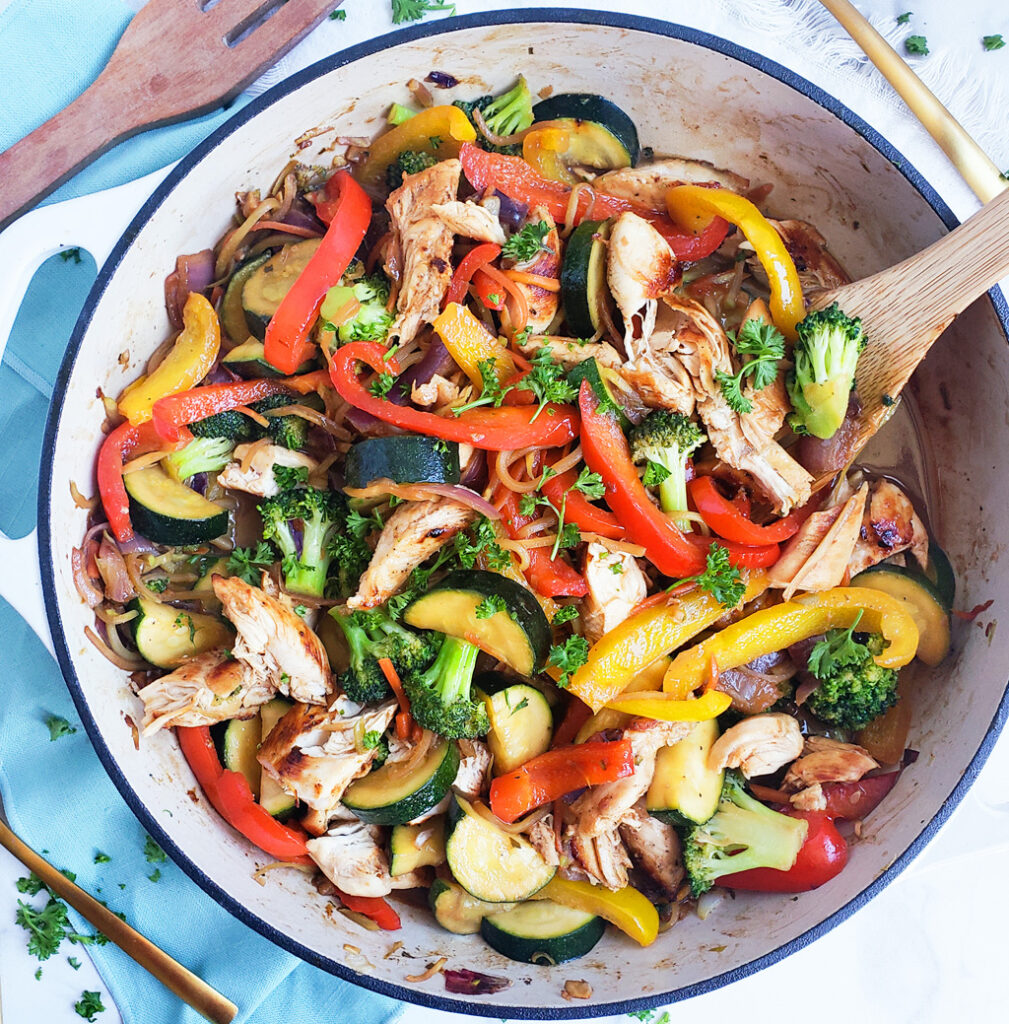 Caramelized Onion & Chicken Vegetable Stir Fry made with Marie's Market Reserve Dressing, ready in 30 minutes