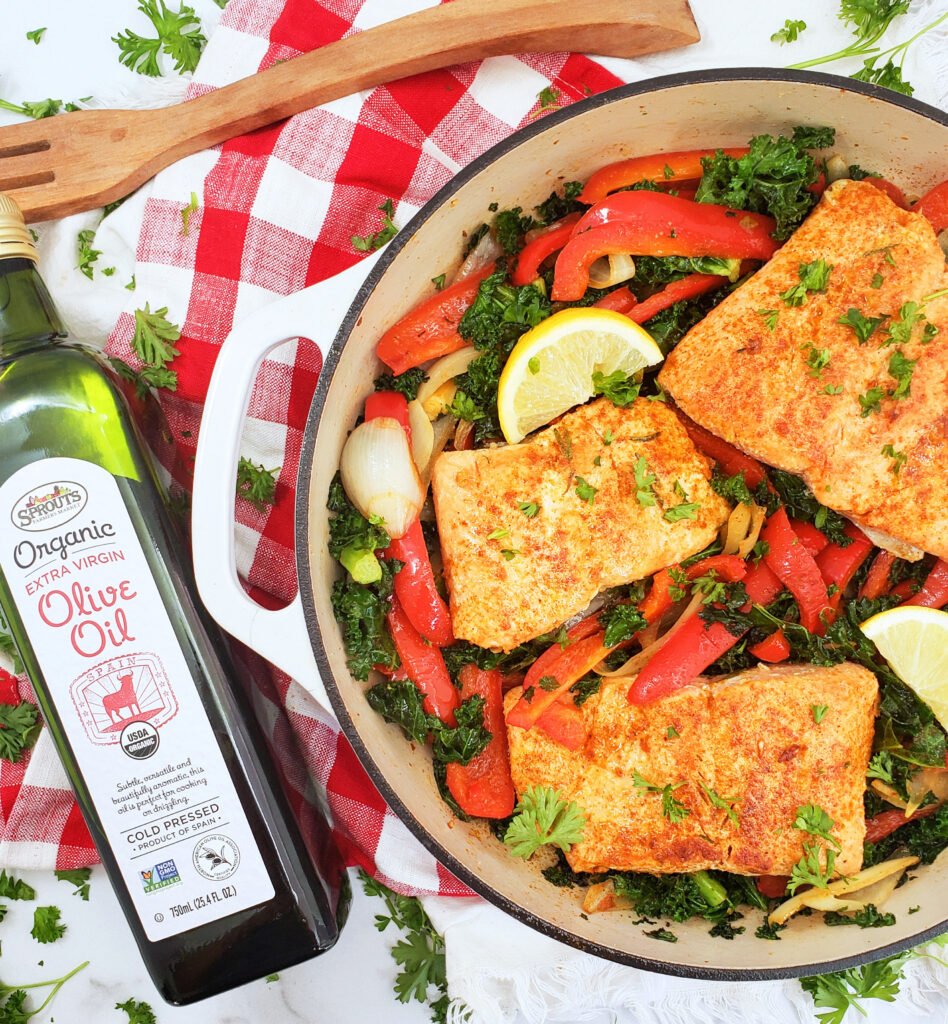 Pan-Seared Rosemary Salmon with Sautéed Kale & Peppers. Heart healthy recipe
