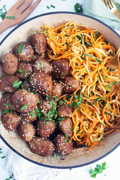 Garlicky Sesame Turkey Meatballs with Zucchini & Butternut Squash Noodles
