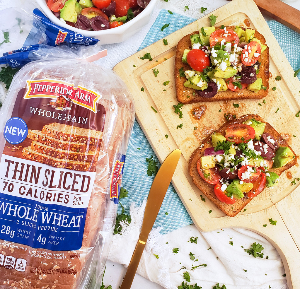 avocado bruschetta toast made with pepperidge farm thin wheat bread