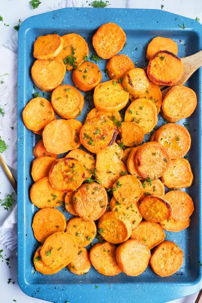 Honey Herb Roasted Sweet Potatoes