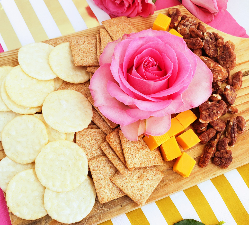 Simple Ideas for a Fun Girls Night In with Triscuit, pink gold & black party decor with pink roses and wine