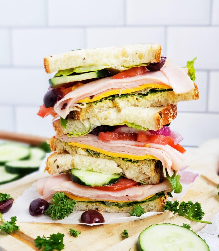 Ultimate Mediterranean Turkey Cucumber Sandwich