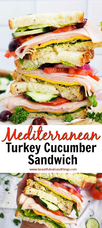 Mediterranean Turkey Cucumber Sandwich