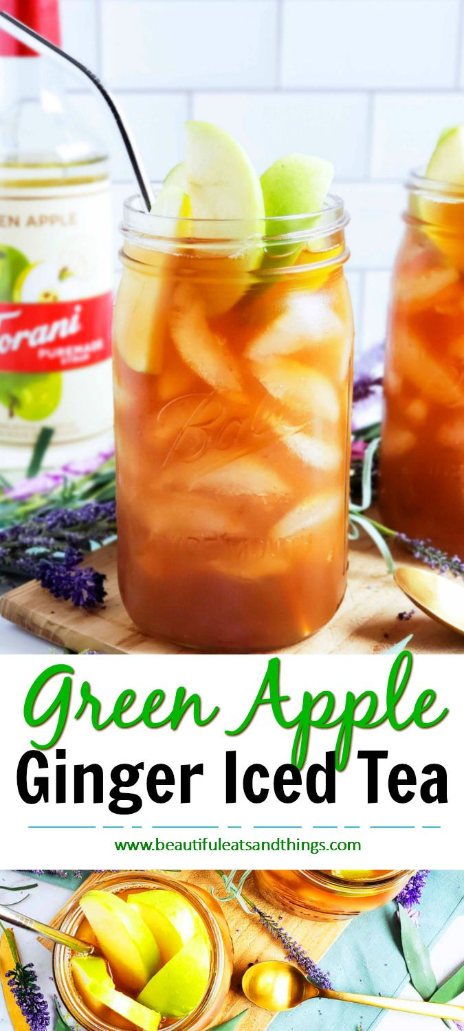 Green Apple & Ginger Iced Tea! I made this drink with natural ingredients such as, Torani Puremade Green Apple Syrup and NUMI Breakfast Blend Organic tea.